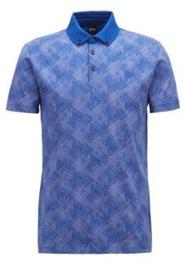 BOSS Hugo Slim-fit polo shirt in climbing-inspired cotton jacquard M Open Blue