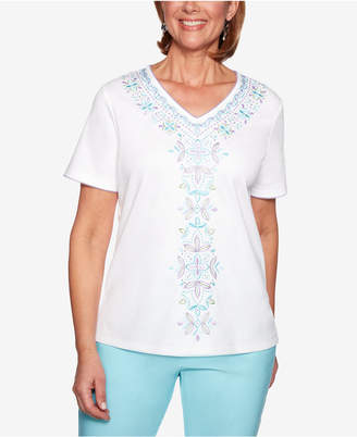 Alfred Dunner Petite Catalina Island Embroidered Top
