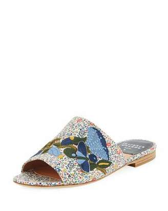 Laurence Dacade Nice Embroidered Flat Slide Sandal