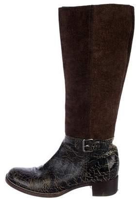 Miu Miu Distressed Knee-High Boots