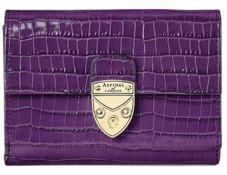 Aspinal of London Small Mayfair Purse In Deep Shine Amethyst Small Croc