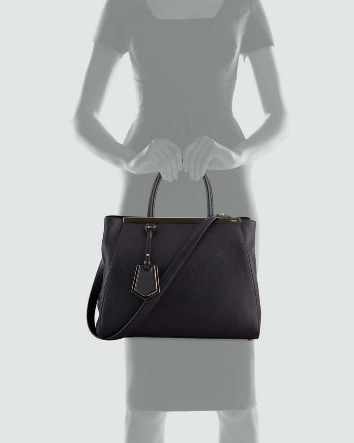 Fendi 2Jours Vitello Elitel Shopping Bag, Black