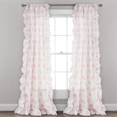 Lush Décor Ruffle Fox 84-Inch Rod-Pocket Window Panel Pair in Pink