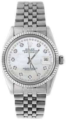 Rolex Datejust 16014 Stainless Steel MOP String Diamond Dial 18K Gold Fluted Bezel Mens Watch