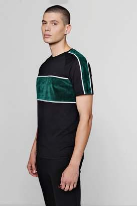 boohoo Colour Block Velour Raglan T-Shirt