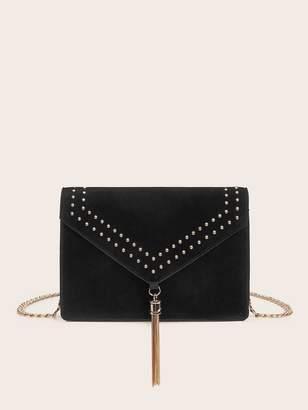 Shein Studded Decor Metal Tassel Chain Crossbody Bag