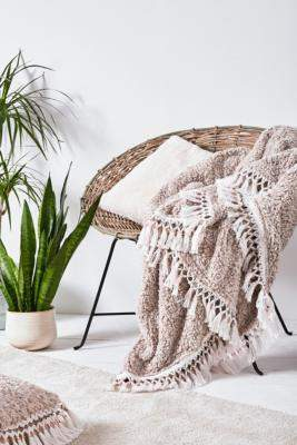 Urban Outfitters Amped Fleece Trim Throw Blanket