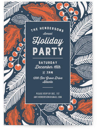 Vintage Berry Holiday Holiday Party Invitations