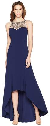 Adrianna Papell Beaded Crepe Gown Women's Dress