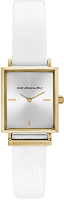 BCBGMAXAZRIA Ladies Rectangle White Genuine Leather Strap Watch, 22mm x 23mm