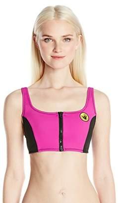 Body Glove Women's You Spin Me Zip Front Scoop Neck Bikini Top Swimsuit
