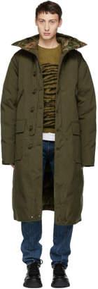 R 13 Khaki Long Anorak Puffer Jacket