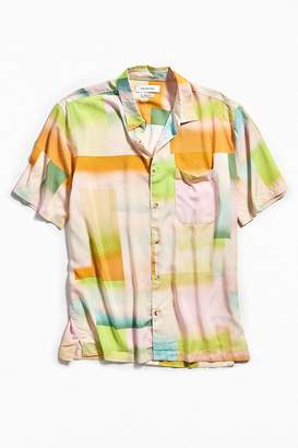 Urban Outfitters Blocked Gradient Pastel Short Sleeve Button-Down Shirt