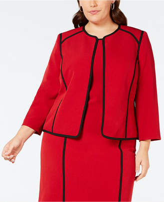 Kasper Plus Size Collarless Piped-Trim Jacket