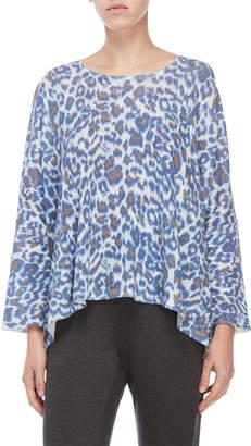 Gerard Darel Blue Denim Leopard Print Draped Top