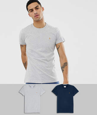 Farah twin pack t-shirt in navy/gray