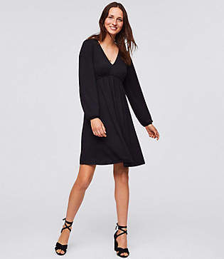 LOFT Blouson Knit Flare Dress