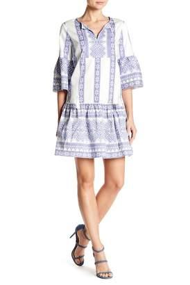 London Times Geometric Stripe Bell Sleeve Dress