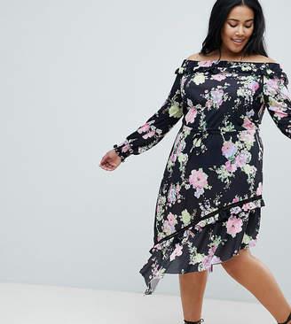 5e7a63129e4 Asos DESIGN Curve off shoulder tea dress with shirred cuffs in floral print