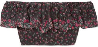 LoveShackFancy Maria Off-the-shoulder Floral-print Cotton Top - Black