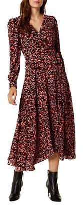 Karen Millen Leopard Print Midi Wrap Dress