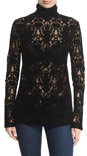 DKNY DKNY Long-Sleeve Lace Turtleneck Top, Black