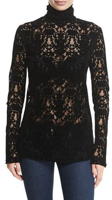 DKNY Long-Sleeve Lace Turtleneck Top, Black $548 thestylecure.com