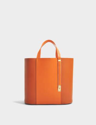 At Monnier Freres Sophie Hulme The Exchange E W Bag In Burnt Orange And Clementine Cow Leather