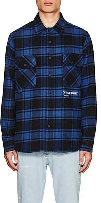 Off-White Men's Checked Cotton-Blend Shirt - Blue