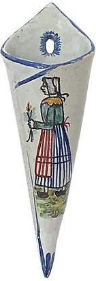 One Kings Lane Vintage Antique Quimper Maiden Wall Pocket Vase