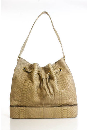 DESIGNER Tan Python Gold Tone Large Two Compartment Hobo Shoulder Handbag