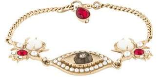 Alexander McQueen Mother of Pearl, Faux Pearl & Crystal Eye Bug Bracelet
