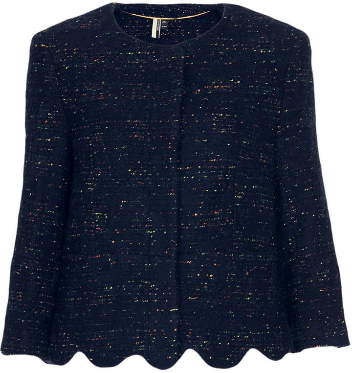 Topshop Boucle Scallop Jacket
