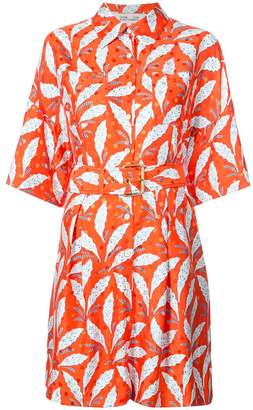 Diane von Furstenberg leaf print belted dress