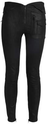 RtA Zip-Detailed Suede Skinny Pants