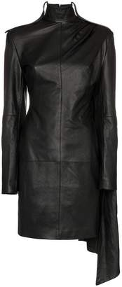 Situationist high neck draped leather dress