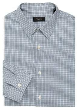 Theory Crosshatch Gingham Cotton Dress Shirt