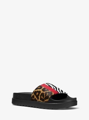 MICHAEL Michael Kors Sabine Animal-Print Calf Hair and Leather Slide Sandal
