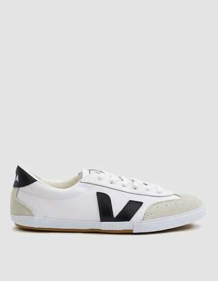 Veja Volley Canvas Sneaker in White Black
