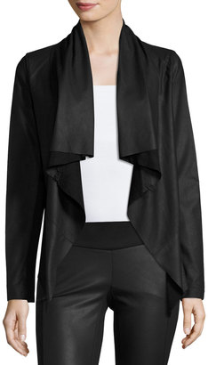 My Tribe Leather Knit-Back Cascade Jacket, Black $335 thestylecure.com