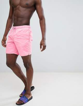Asos DESIGN Swim Shorts In Neon Pink Acid Wash With Neon Drawcord In Mid Length