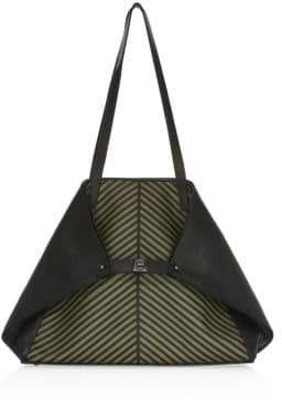 Akris Ai Medium Soft Shoulder Herringbone Tote