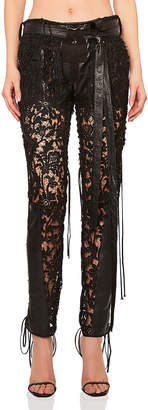 Saint Laurent Lace Up Lace & Leather Pants