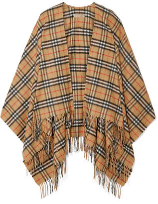 Burberry Fringed Checked Cashmere And Merino Wool-blend Wrap - Camel