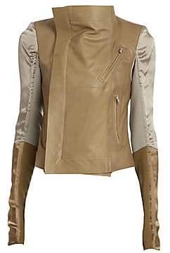 Rick Owens Women's Satin & Leather Combo Biker Jacket