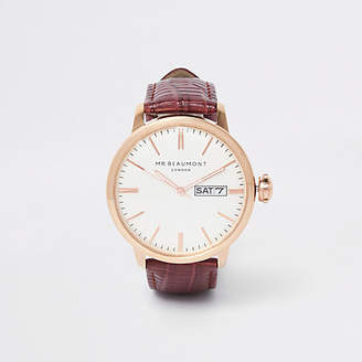 River Island Red Mr Beaumont leather strap watch