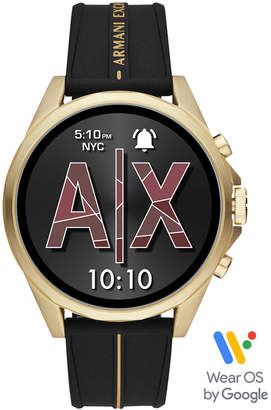 Armani Exchange Men Drexler Black Silicone Strap Touchscreen Smart Watch 46mm