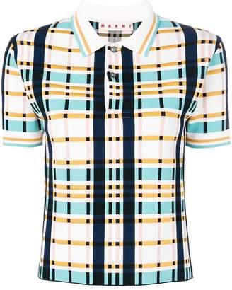 Marni plaid boxy polo shirt