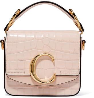 Chloé C Mini Suede-trimmed Croc-effect Leather Shoulder Bag - Pastel pink