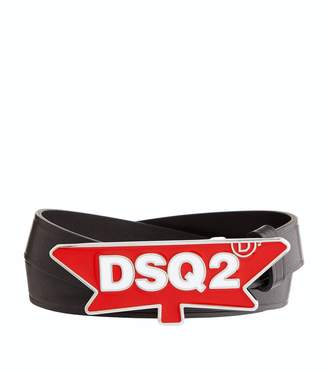 DSQUARED2 Leather Leaf Buckle Belt